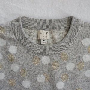 Gold, Gray, and White Long-Sleeve Sweater